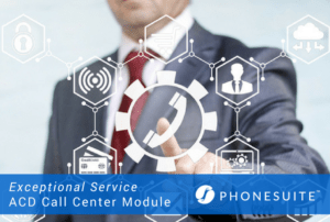 graphic about phonesuite and their ACD call centre module with a man wearing a suit in the background with communication icons