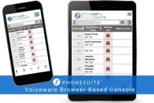 graphic showing phonesuite's voiceware browser-based console on a smartphone and tablet