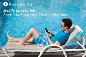 phonesuite branded photo of a man in a lounge chair on his phone by the pool