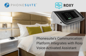 graphic of phonesuite's roxy voice-activated assistant in a hotel room
