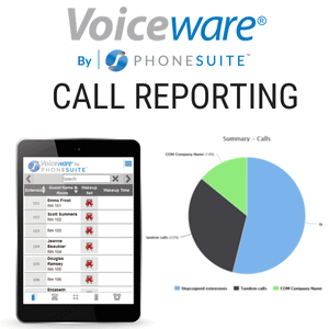 graphic showing phonesuite's voiceware system and a pie chart of the call reporting next to a tablet with Voiceware on it