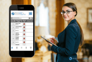 graphic of phonesuite's Voiceware program on a smartphone with a photo of a woman using an tablet and looking at the camera