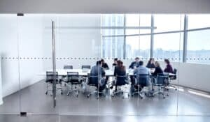Group of business professionals meeting in conference room