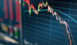 close up of stock markets going down on a screen