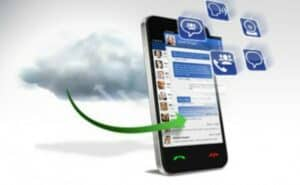 smartphone with communication icons floating above and an arrow to show how data is shared on a cloud