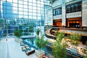 Modern hotel lobby in Shanghai China